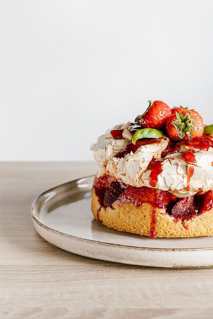 Slrawberry and basil meringue cake