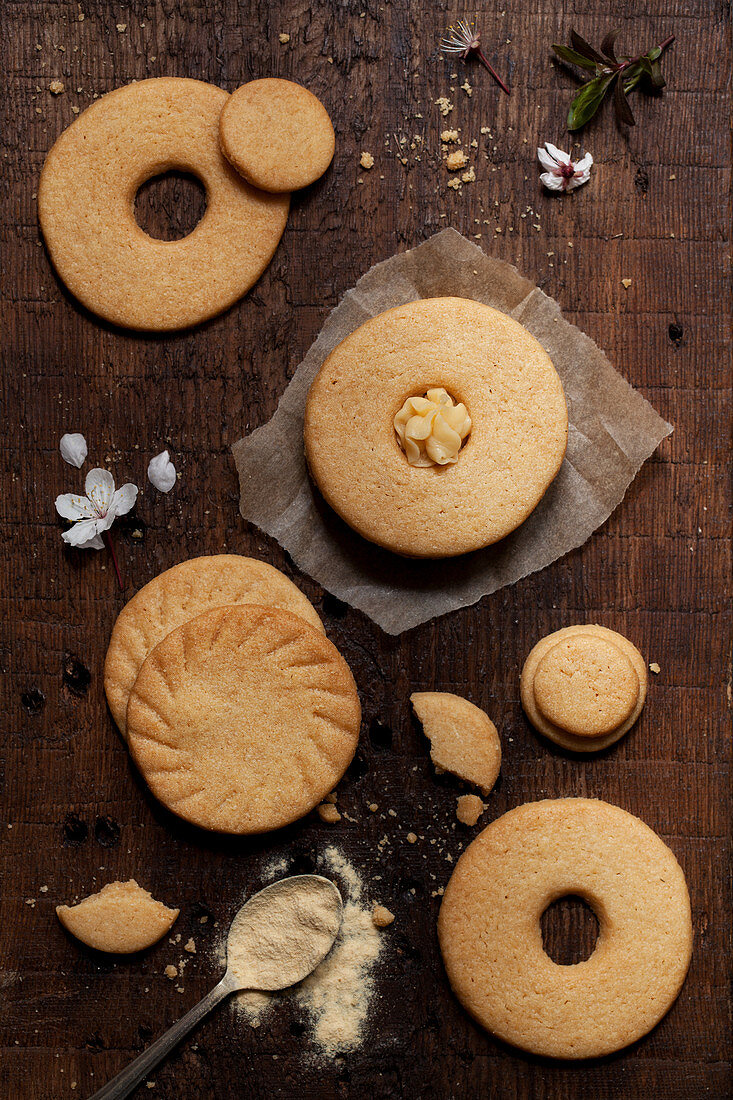 Homemade malted milk biscuits on a wooden board