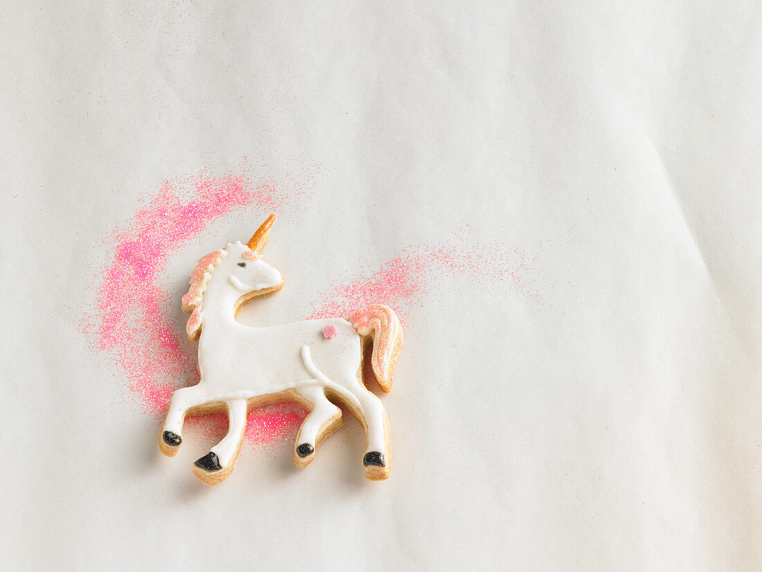 A unicorn biscuit