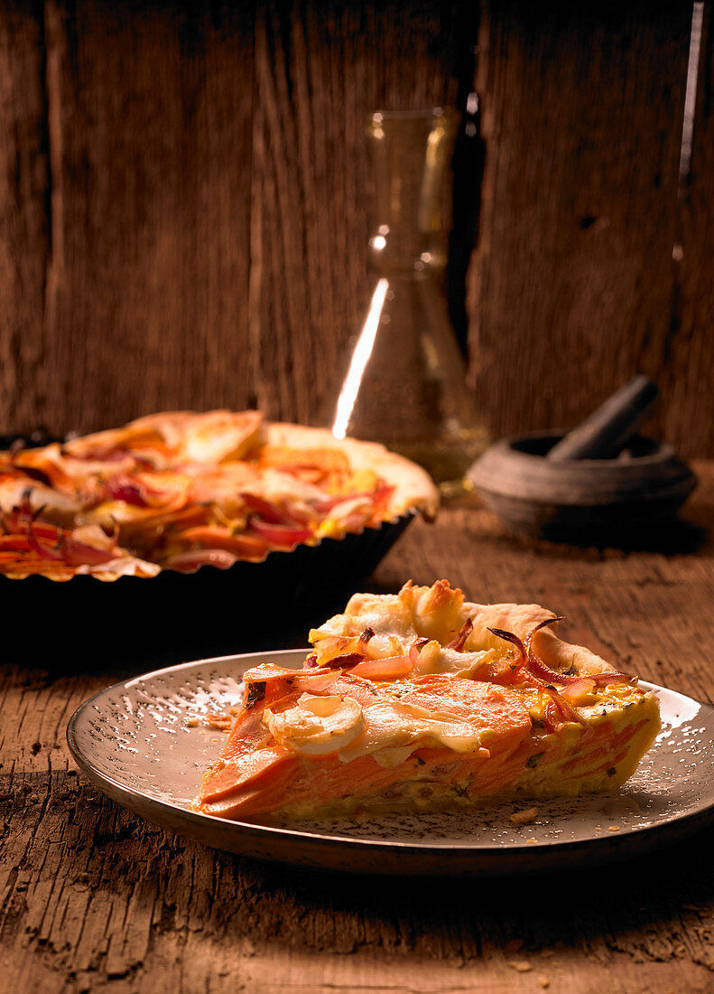 Sweet potato tart with onions, goat's cheese and thyme