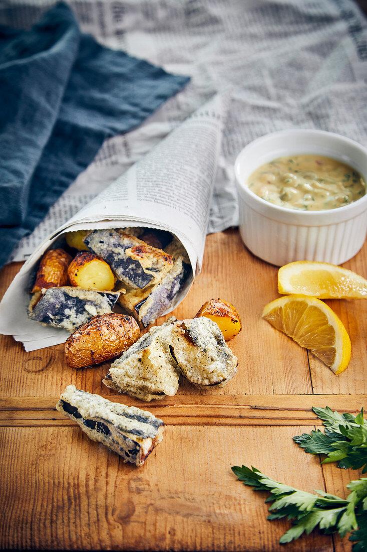 Vegan aubergine 'vish' and chips
