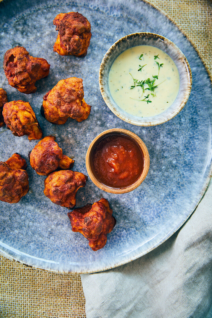 Vegan cauliflower 'wings' with a BBQ marinade and a ranch dip