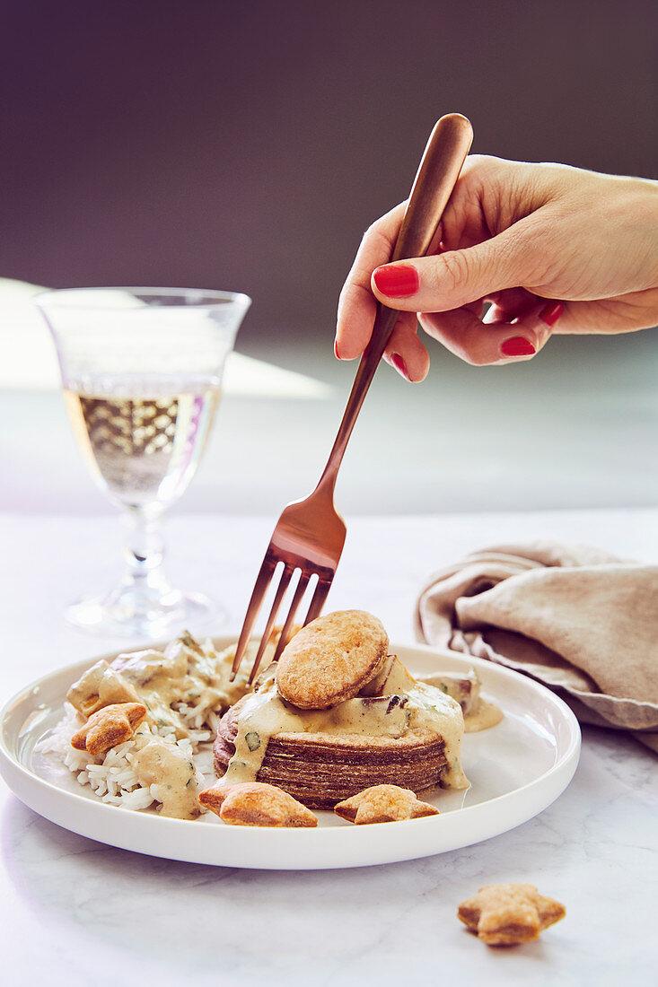 Vegan vol au vent with creamy mushrooms and smoked tofu
