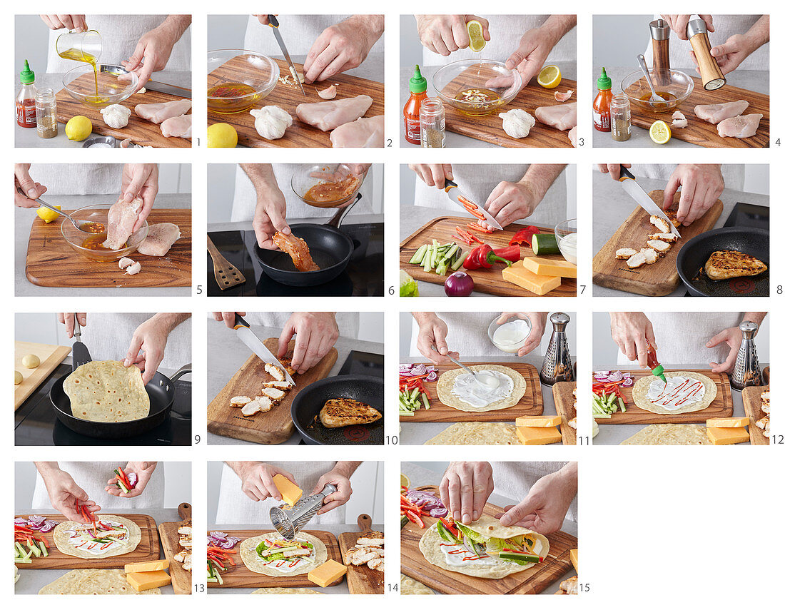 Preparing tortilla with chicken meat