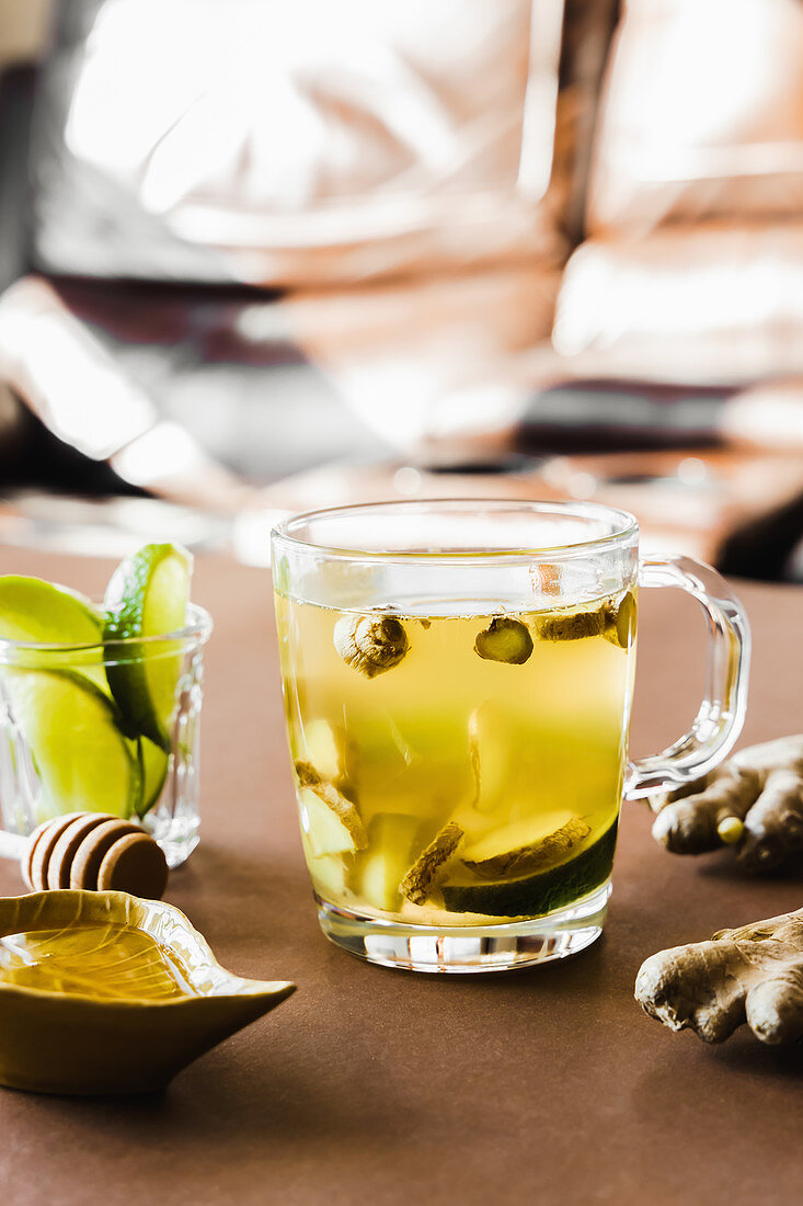 Ginger tea with honey and lime