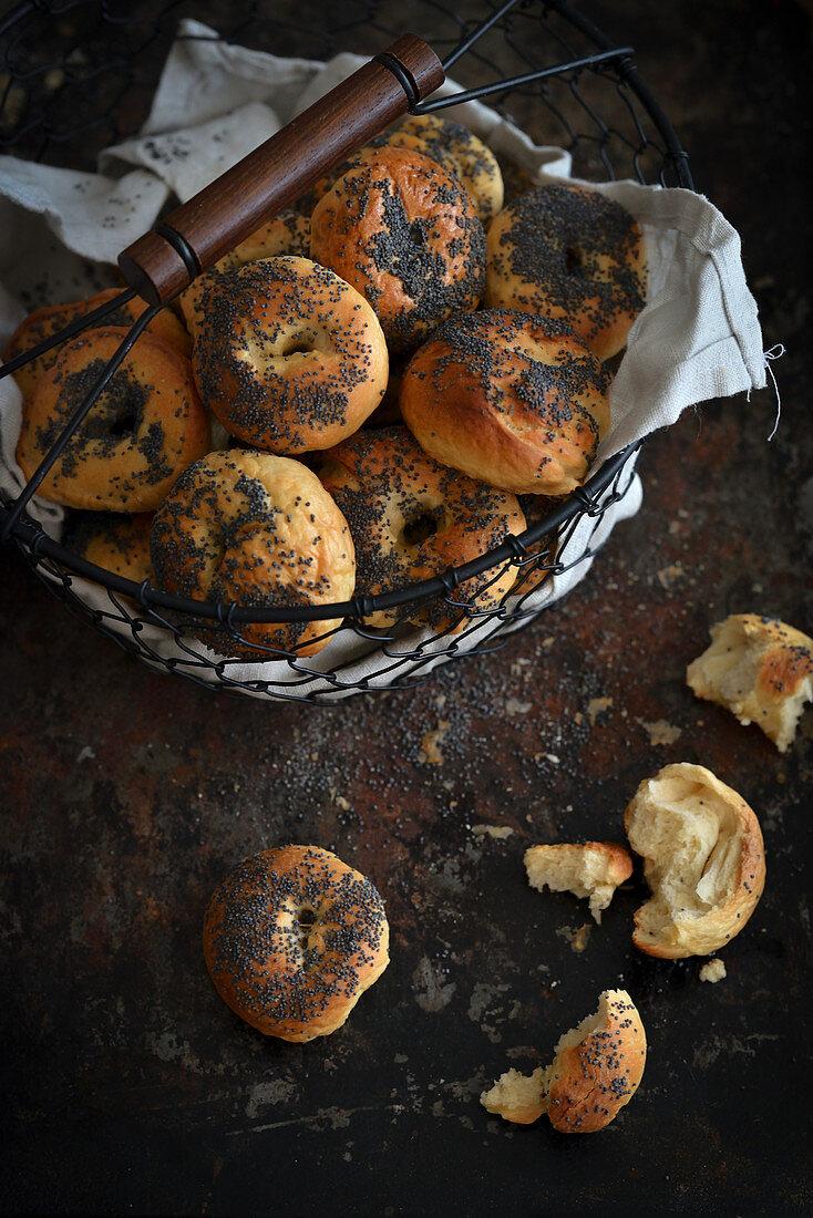 Homemade yeast pretzels in a basket