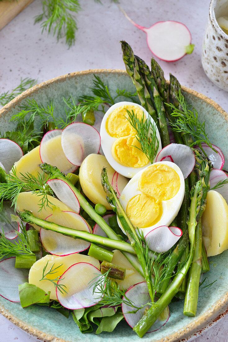 Spring salad with asparagus, eggs and radish