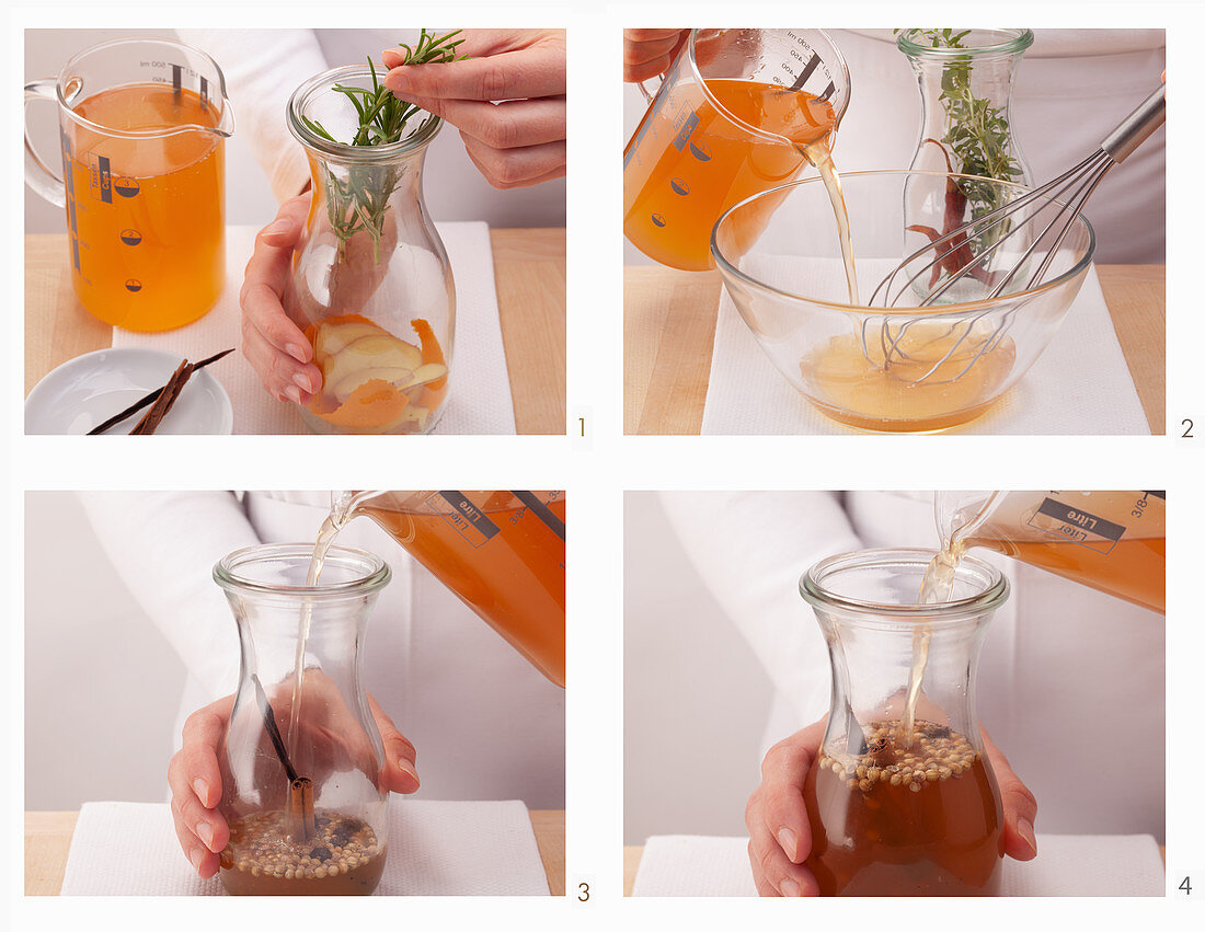 Herb vinegar and spiced vinegar being made