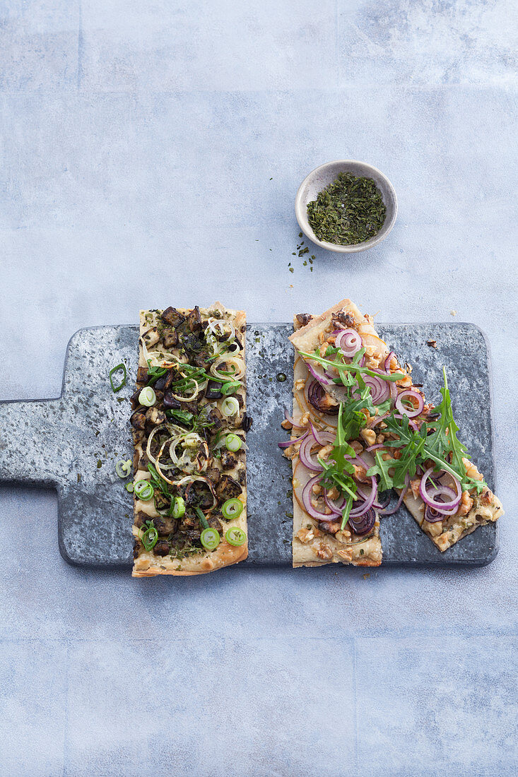Tarte flambée – one with aubergines and dulse and one with pears and walnuts