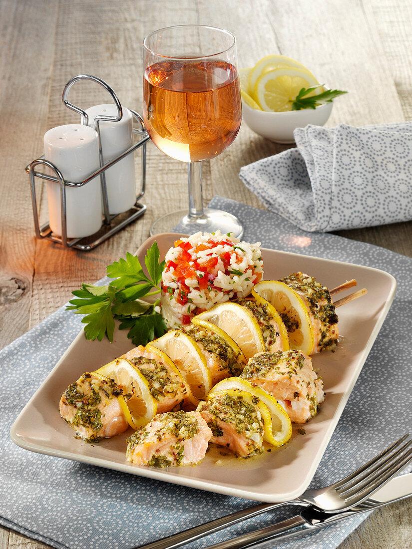 Salmon and lemon skewers with lemon rice