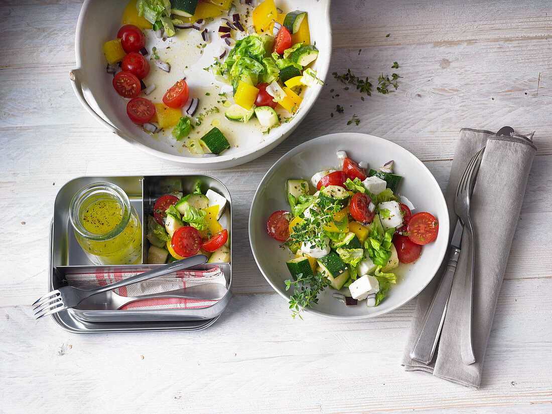 Mixed leaf salad with feta cheese