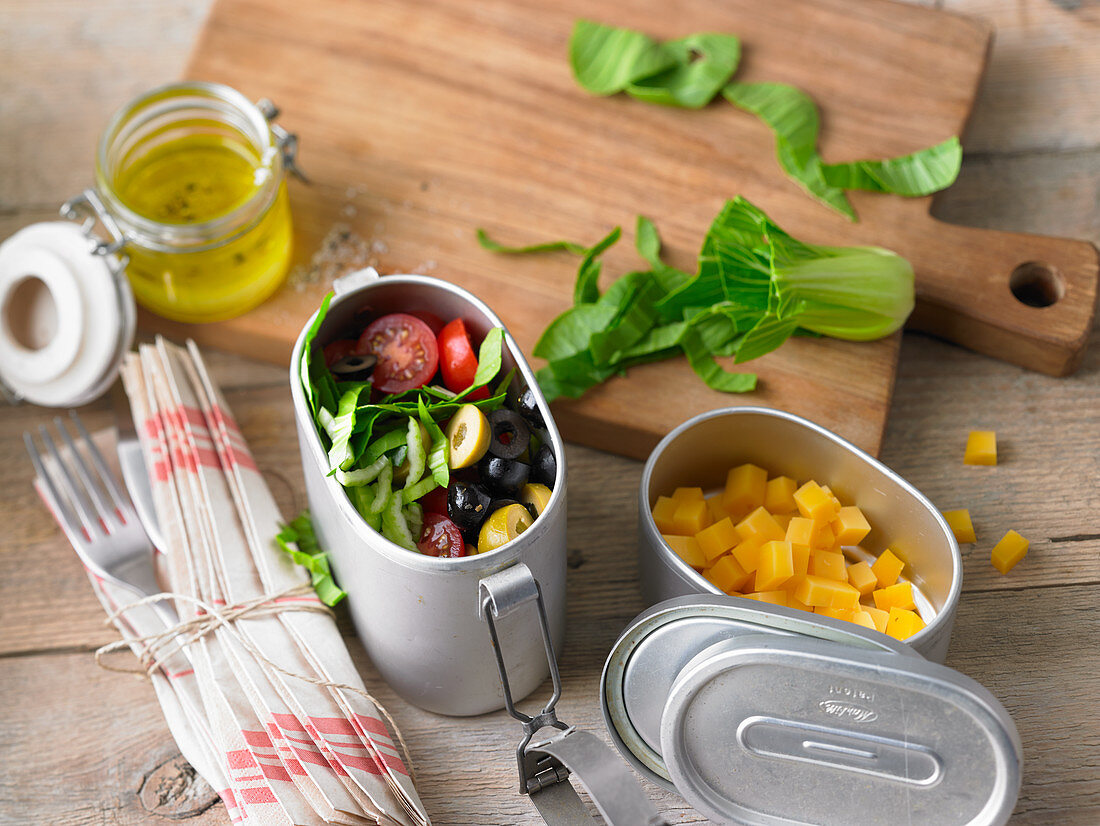 Tomato and olive salad with bok choy to take away