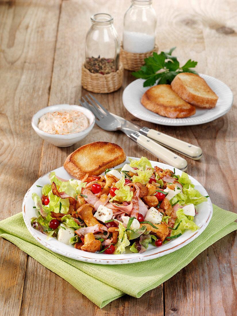 Savoury salad with gammon, chanterelle mushrooms and buffalo mozzarella
