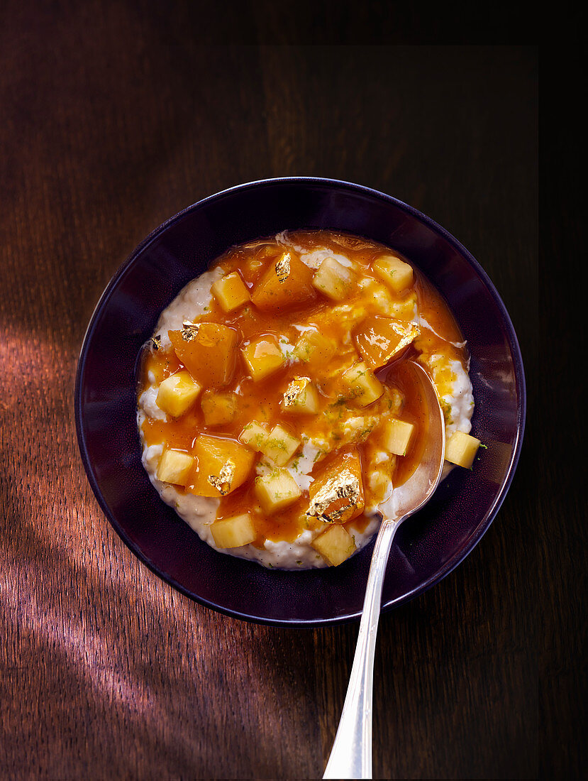 Rice pudding with spicy pineapple compote