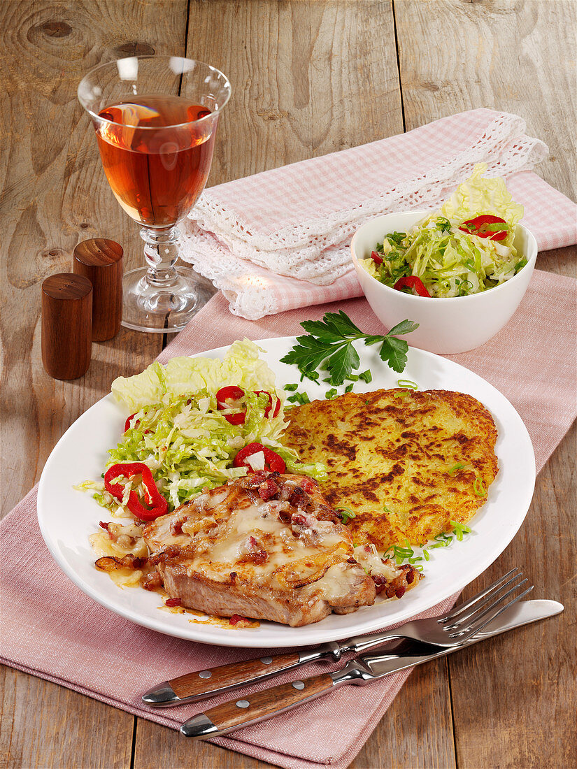 Engadine pork escalope with bacon and raclette cheese