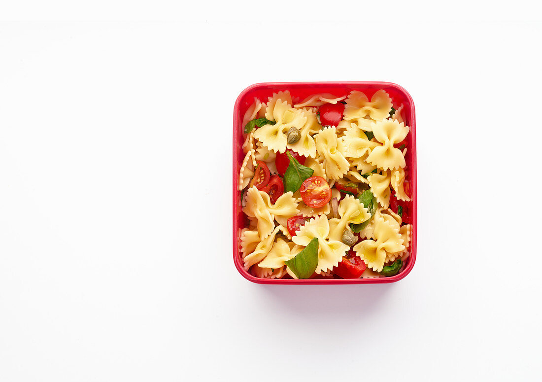 Lunch box with healthy pasta salad