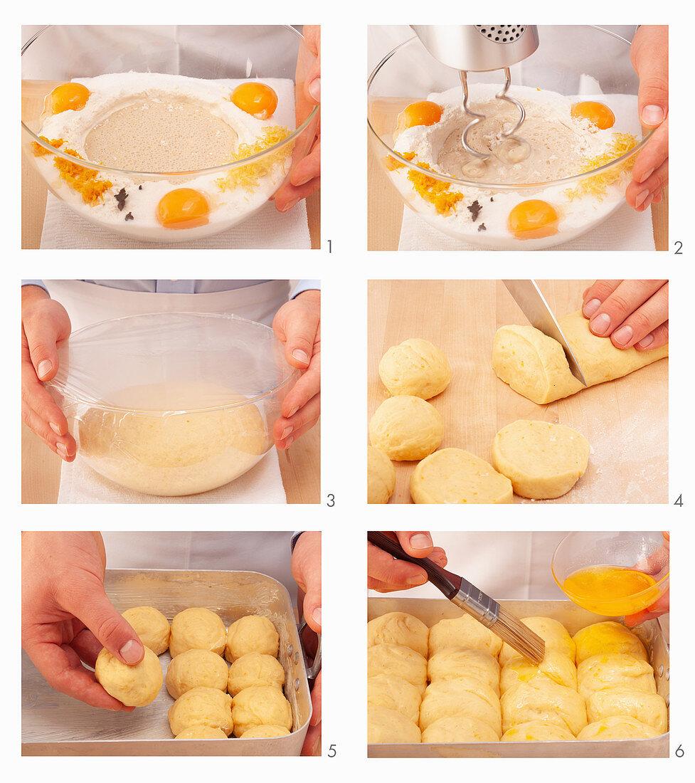 Rohrnudeln (baked, sweet yeast dumplings) being made
