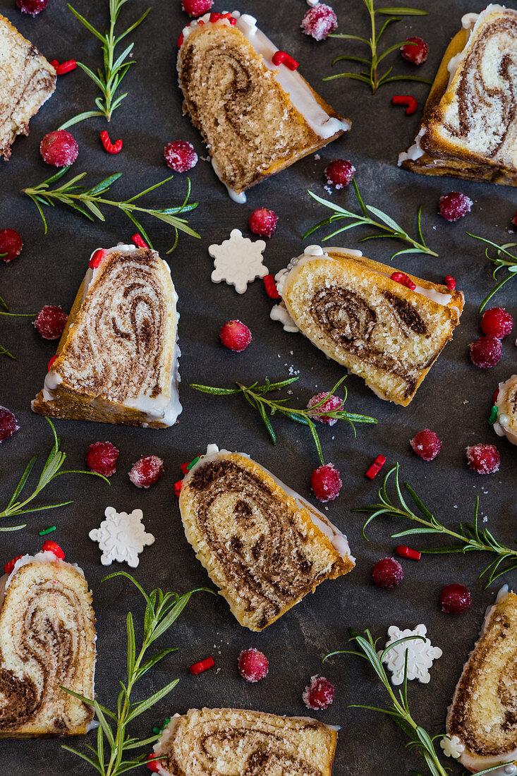 Christmas marble cake