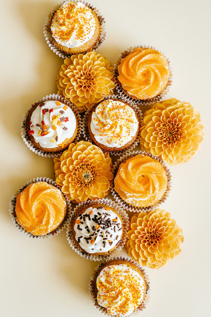 Cupcakes with vanilla cream cheese frosting decorated with sugar sprinkles in autumn style