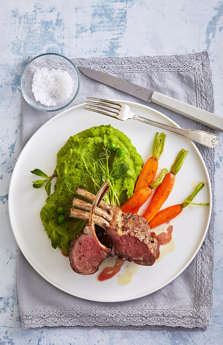Spring lamb chop with pea puree