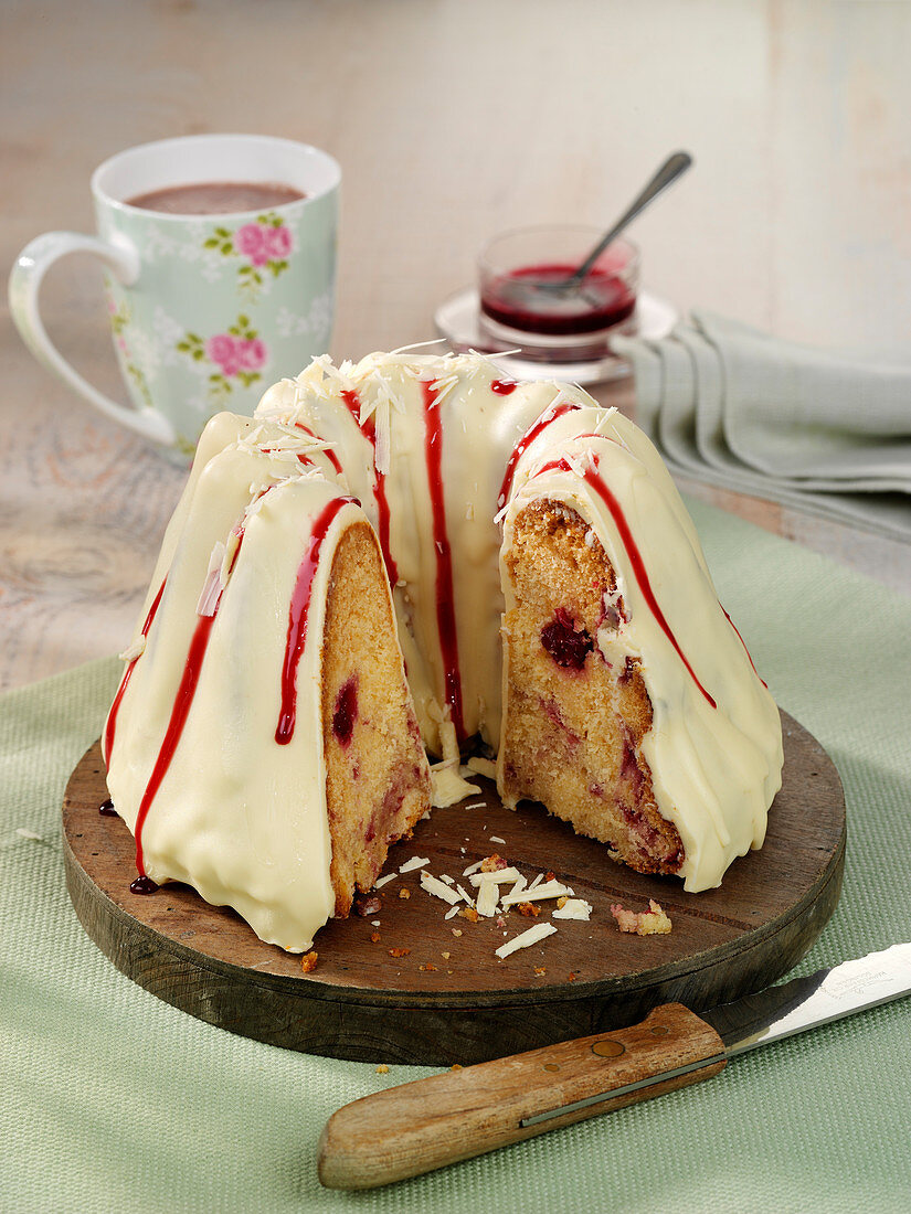 Eggnog and cherry Bundt cake with white chocolate