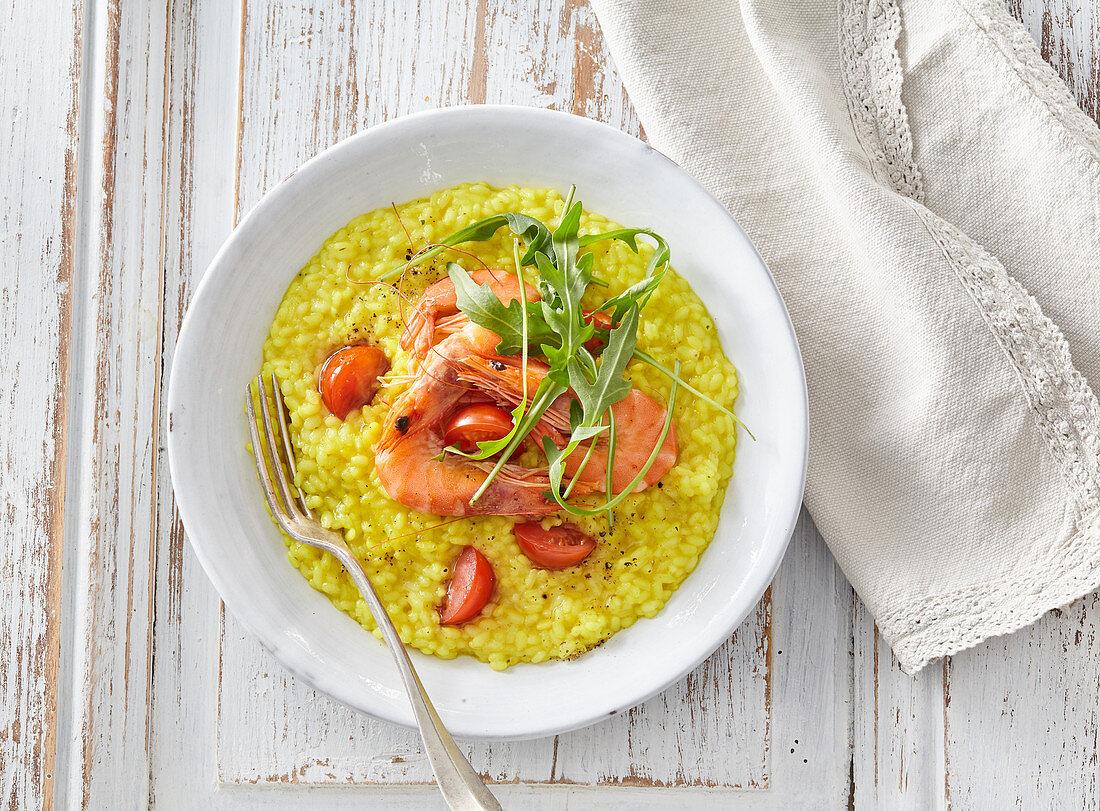 Italian saffron risotto with shrimps