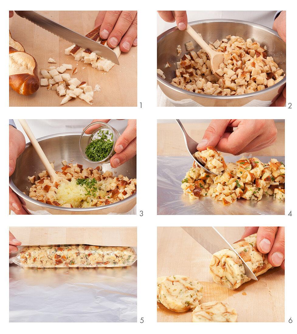 Making pretzel dumplings