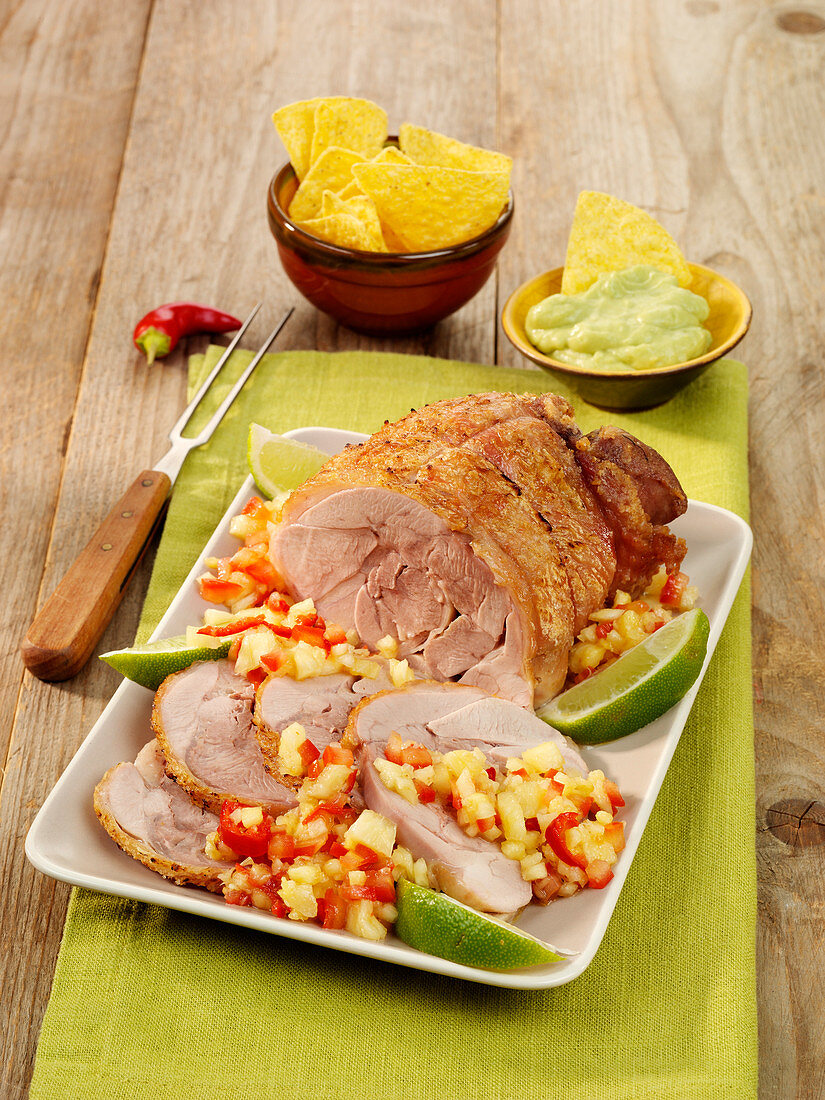 Roast turkey 'Mexico' with pineapple, rum and chili