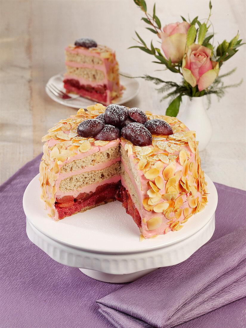 Pink plum cake with mascarpone and almonds