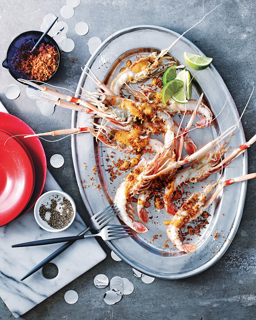 Scampi with brown butter, chilli and coconut