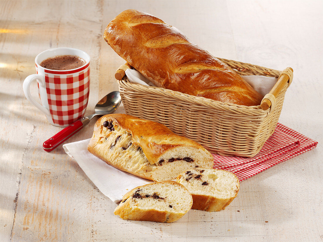 Sweet baguette with dark chocolate