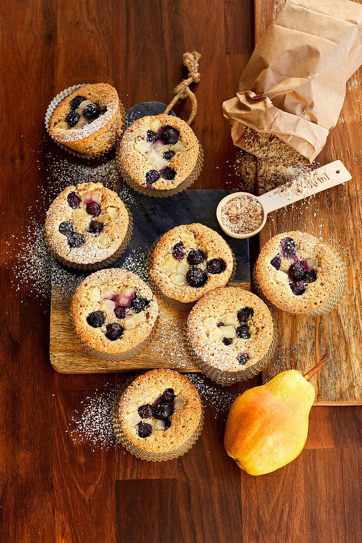 'Financier' almond muffins with blueberries