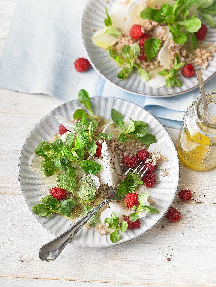 Jerusalem artichoke salad with raspberries