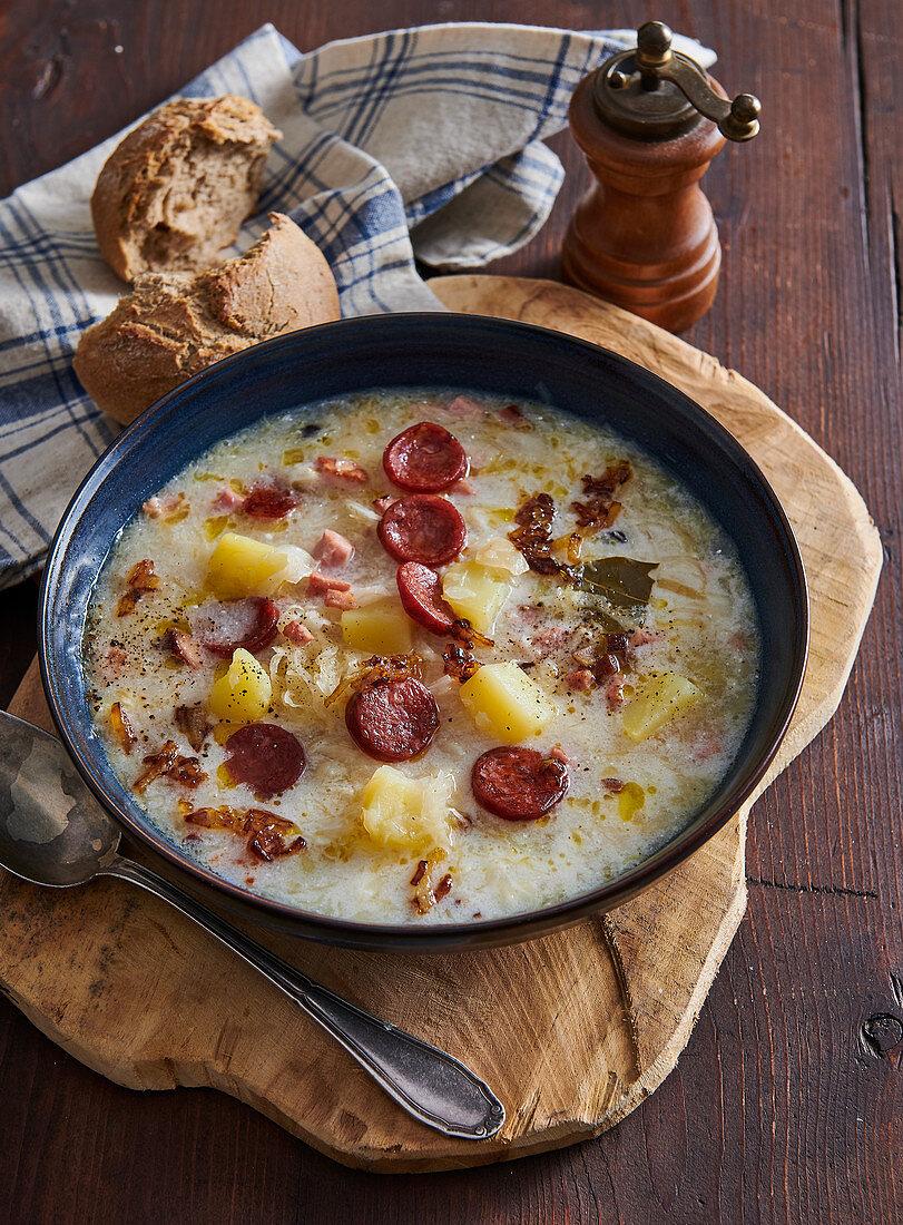 Moravian sauerkraut soup with sausage