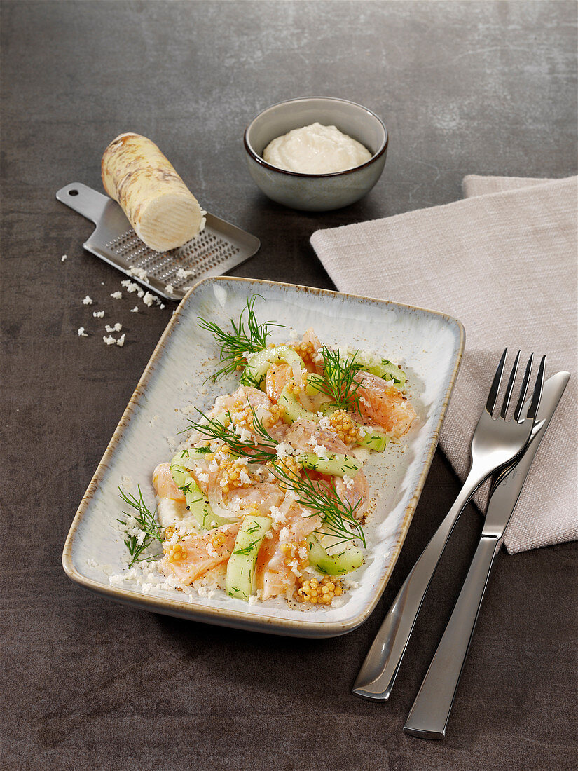 Trout ceviche with shallots, mustard seeds and horseradish