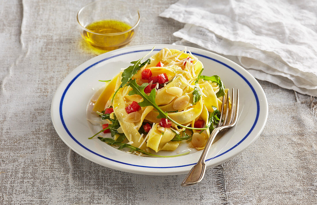 Italian tagliatelle aglio olio