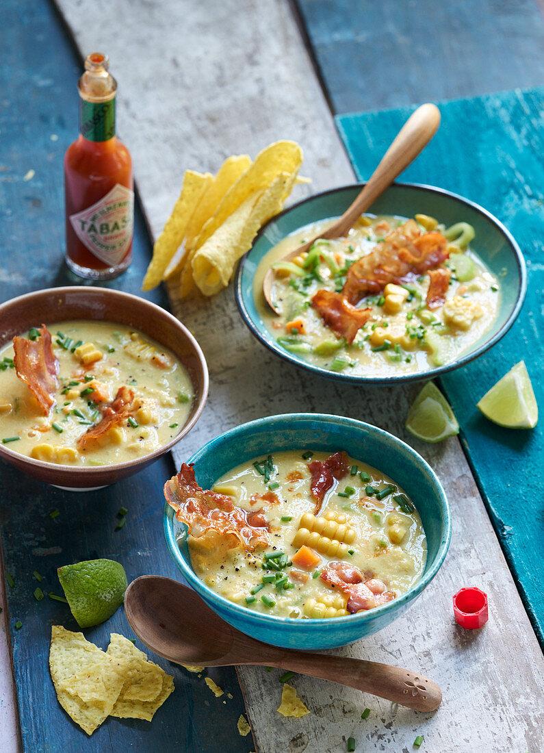 Tex-Mex creamy corn soup with bacon