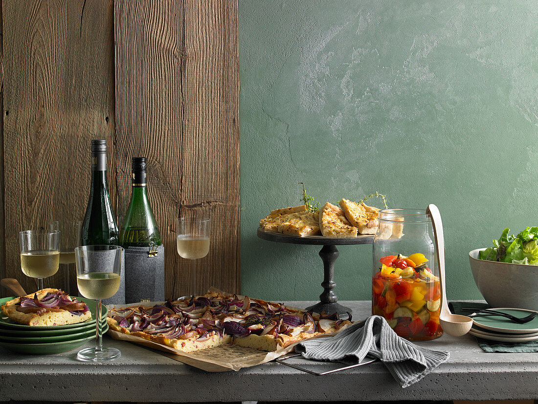 Autumn party buffet for guests with onion cake