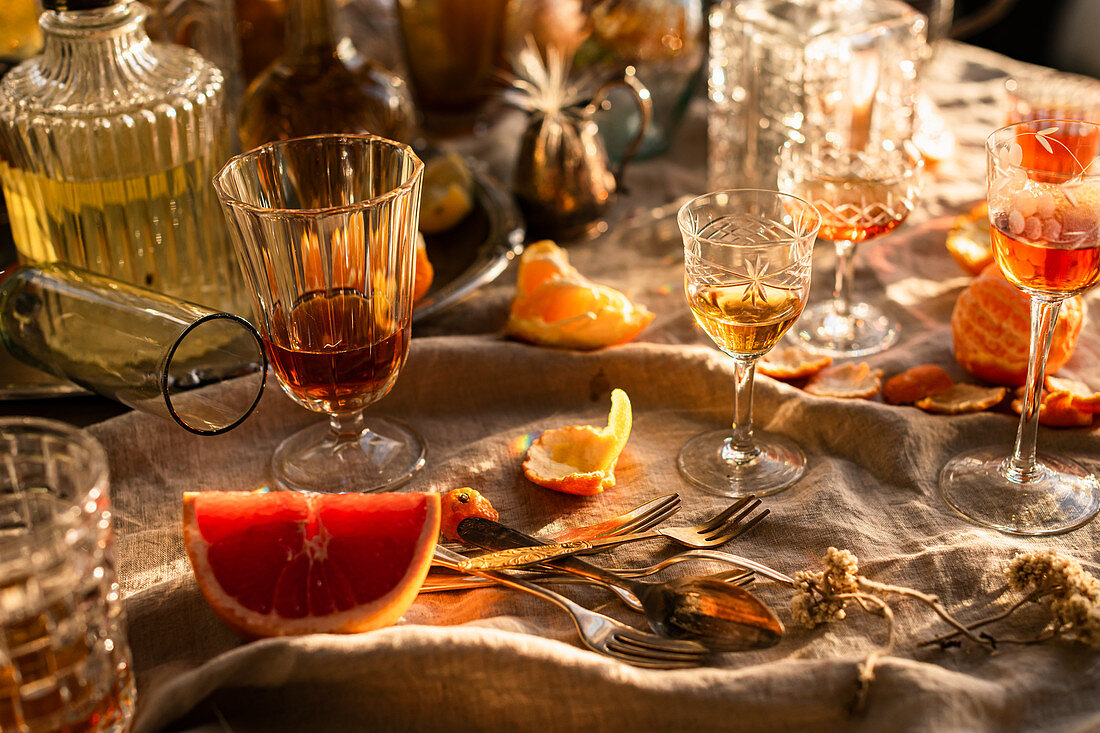Sunset drinks party with vintage glassware