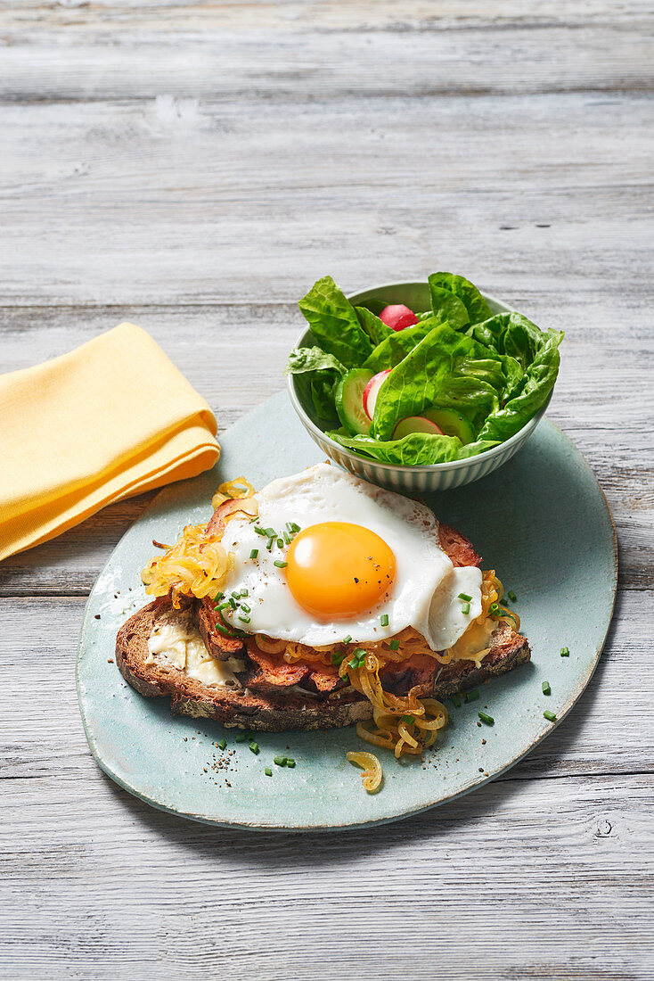 Gourmet cuts with fried eggs