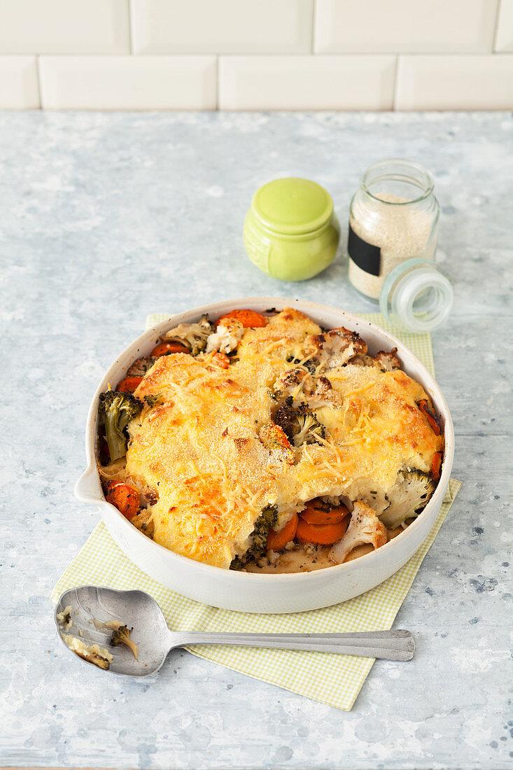 Vegetarian 'Shepherd's' pie made with cauliflower