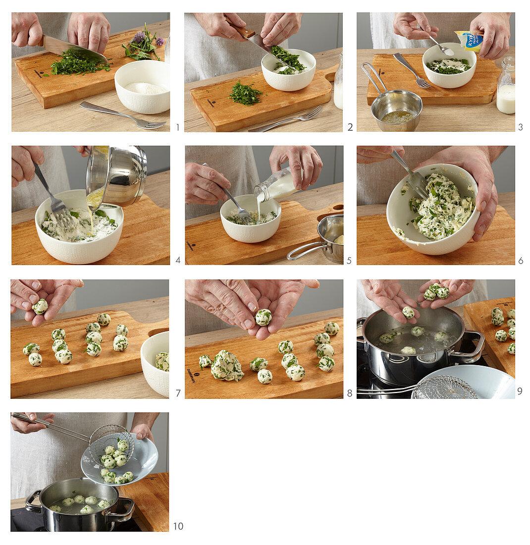 Prepare herb dumplings as a soup