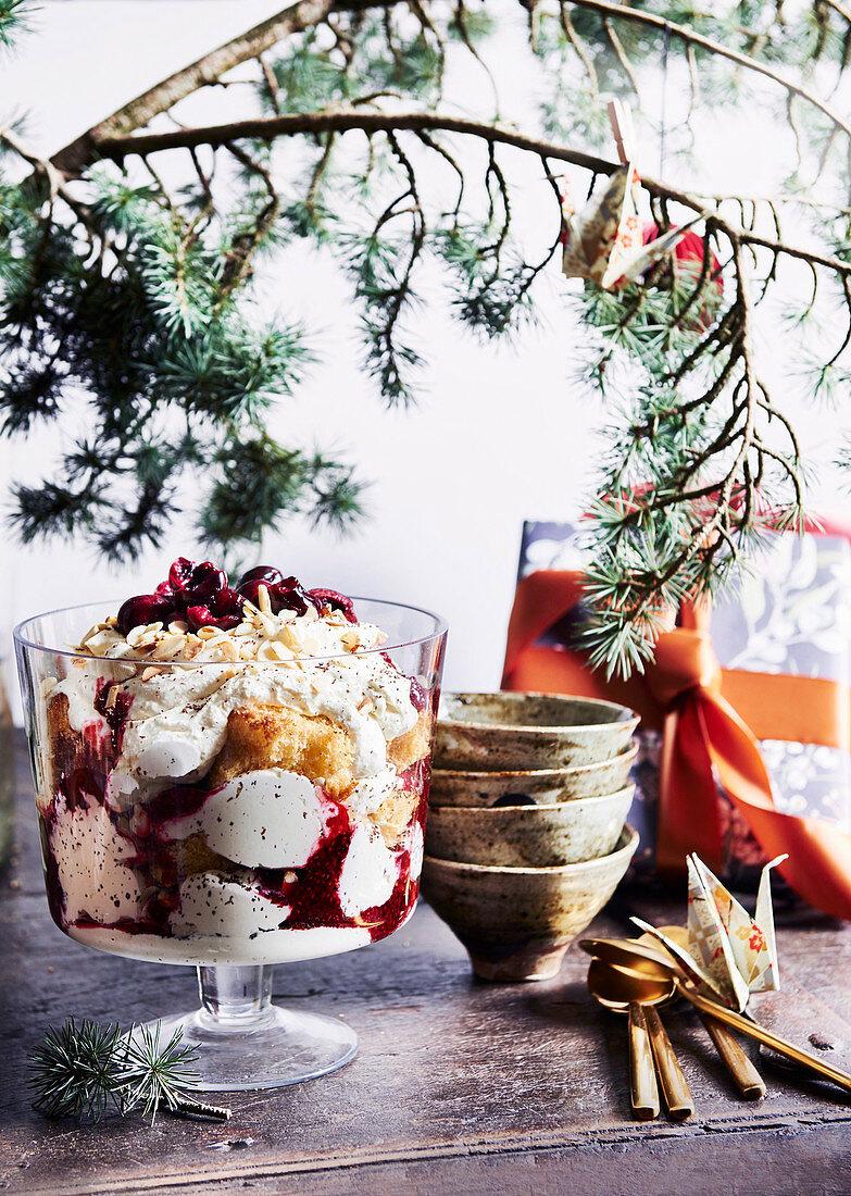 Pandoro, ricotta and raspberry trifle