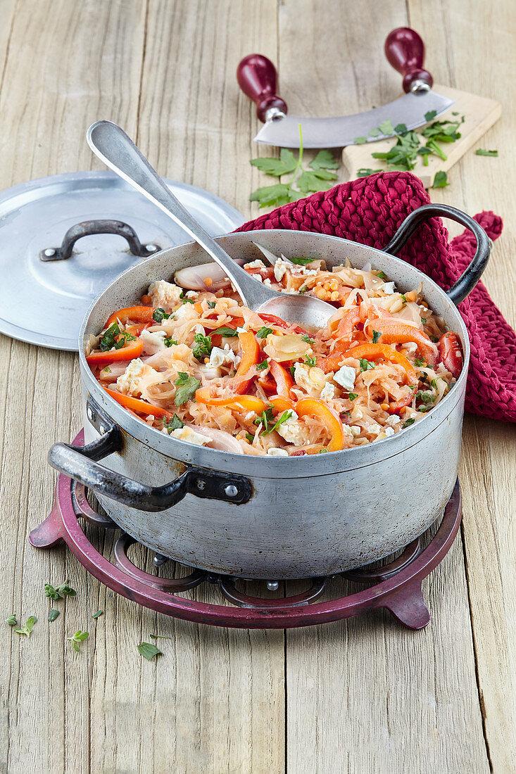 Sauerkraut and pepper stew