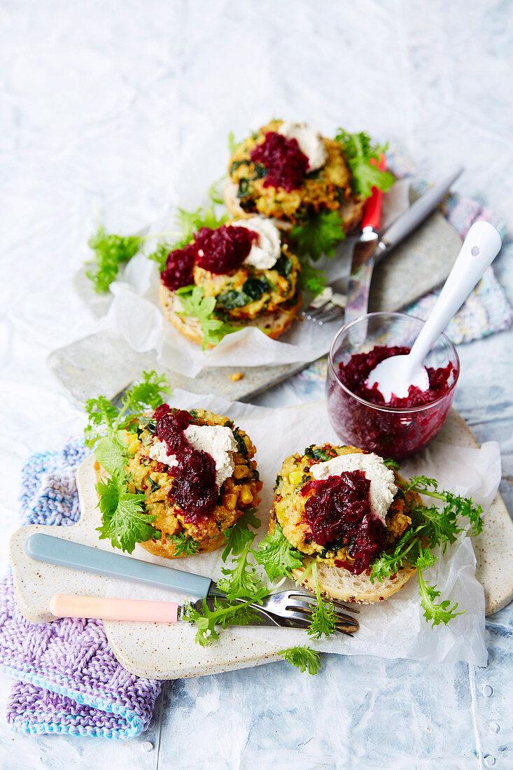 Vegan vegie patties with beetroot and caraway chutney