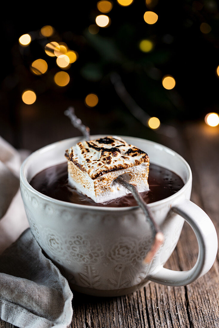 White cup with tasty hot chocolate drink garnished with roasted marshmallow
