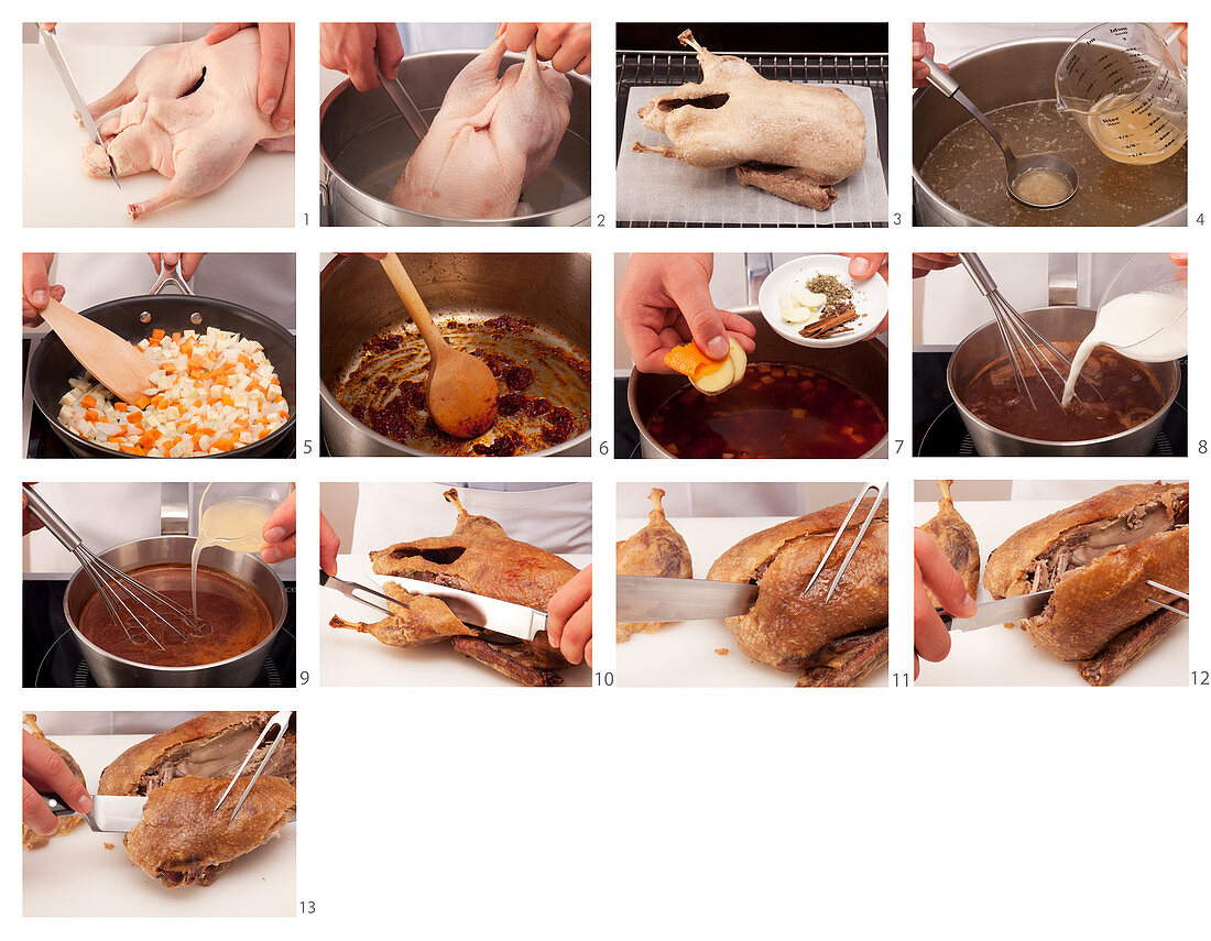 Preparing and carving crispy duck with sauce