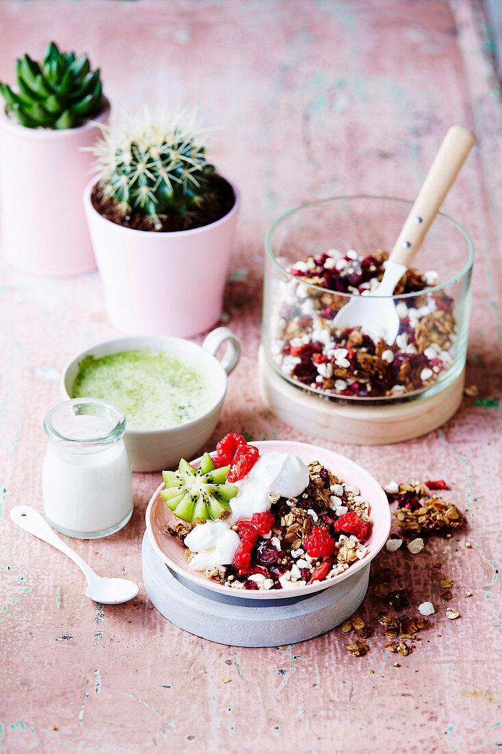 Vegan buckini and berry muesli clusters
