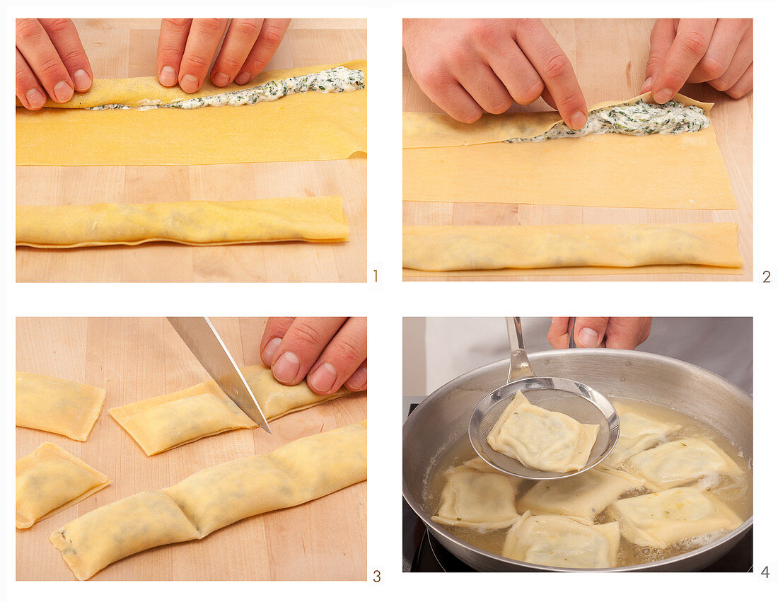 Maultaschen (Swabian ravioli) filled with spinach and cream cheese being made