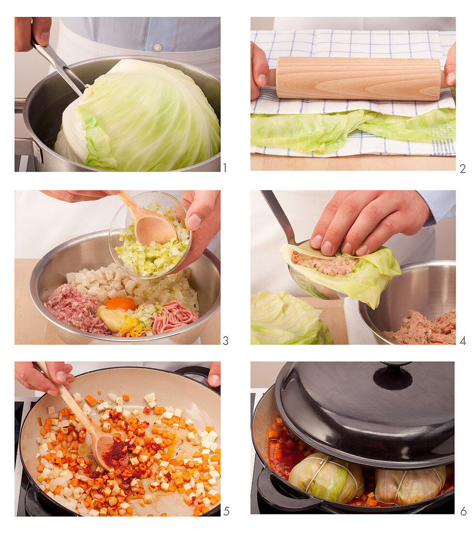 Braised cabbage being made